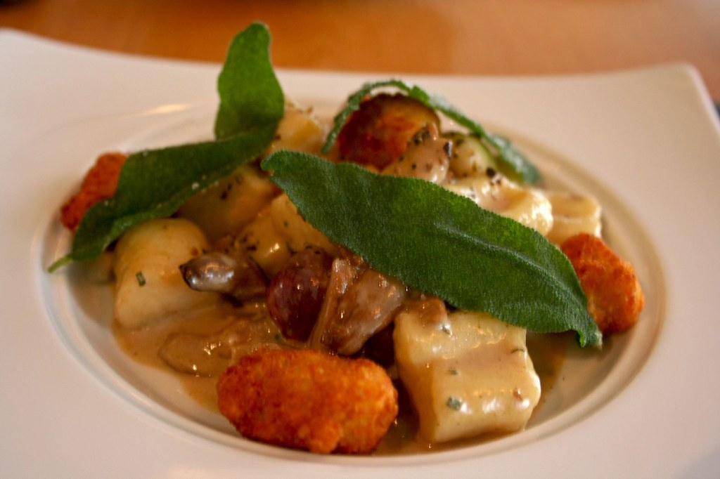 Roasted Garlic Gnocchi with Wild Mushroom, Sage, and Crispy Sweetbreads