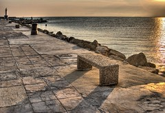 evening jetty - sea sunset france jetty mediterranean triangles shadows big evening