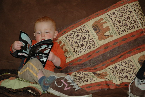 reading with shoes