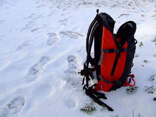 Mi bolsa plantada en mitad de la nieve
