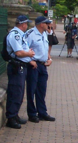 Secondary inspector and his Senior Sergeant - Invasion Day Rally and March, Parliament House, George St, Brisbane, Queensland, Australia 070126