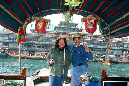 posing with the sampan captain, thomas
