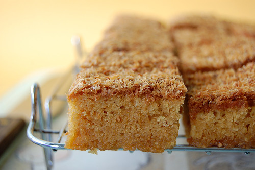 Chewy Blondies with Dessicated Coconut