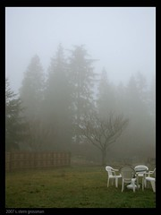IMG_0086 picnic in the fog (S. Stern Grossman/Singing Pixel) Tags: seattle winter weather fog yard yardfurniture