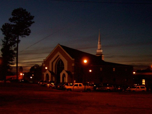 sunset over Daphne church