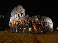 Colosseum - Night shot (Viton) Tags: italy orange rome night lumix fz20 lights ancient ruins europe exterior sightseeing wide arc panasonic colosseum arena coliseum arcs widelens travelerphotos