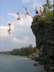 Cliffjumping Cliff Sequence Two (I voted for Kodos) Tags: canada river jump jumping cliffs alberta sequence stitched seebe cliffjumping photostitch sequential rapidshot