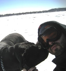 Me and my pooch, Vader (BuddhaMan) Tags: dog frozenlake