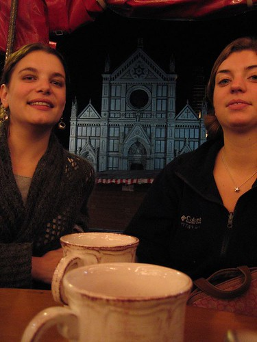 An up-the-chin shot of Anna and me, with Santa Croce
