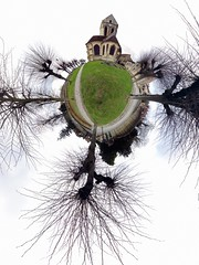 glise d'Auvers-sur-Oise (gadl) Tags: panorama france tree church grass tripod gimp arbres projection planet polar glise herbe 360 auvers stereographic hugin plante valdoise auverssuroise enblend selection1 stereographicprojection 303sph 95430 selection2 selection3