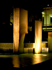 msc fountain (mrich) Tags: light sculpture reflection art water fountain architecture night buildings outdoors lights evening texas structures collegestation texasam texasamarchitecture collegestationarchitecture memorialstudentcenter mscfountain
