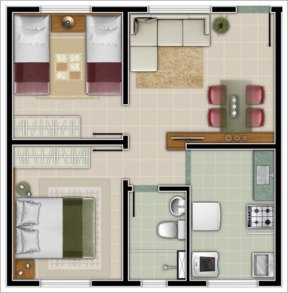 plantas 2 quartos casa