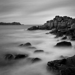 Tresco North End (Adam Clutterbuck) Tags: ocean longexposure sea blackandwhite bw seascape 20d monochrome square landscape island mono coast blackwhite cornwall waves rocky canoneos20d bn minimal coastal shore elements bandw simple sq oe scilly tresco islesofscilly distilled simplified scillyisles greengage adamclutterbuck cornishcoast sqbw bwsq showinrecentset openedition
