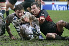 Mates In Mud (cazphoto.co.uk) Tags: mud saracens rugbyunion salesharks markcueto glenjackson