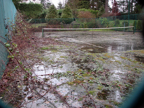 This tennis court has seen better days