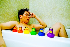 unwinding with my duckies (poopoorama) Tags: selfportrait me 1025fav digital bathroom duck nikon d70 sigma rubberducky danny devil bathtub 1020mm day74 sigma1020mm 365days dnutatafeature poopooramavoxcom 365explored flickr:user=poopoorama