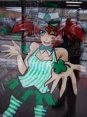 The Anime Stop store mascot character wearing a St. Patrick's Day outfit. (Steve Brandon) Tags: ontario canada anime window girl shop retail geotagged store magasin painted ottawa suburb nepean schoolgirl japanimation stpatricksday saintpatricksday  kogal japaneseanimation freeadvertising  japanesecartoons merivaleroad merivalerd bleekermall animestop ruemerivale thecomicbookshoppe animestore clydeavenue clydeave avenueclyde