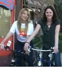 Jorja Fox goes bike shopping