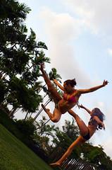 karate kickkk (SARA LEE) Tags: girls party swim fun hawaii team jumping kick style karate expressive cheerleader bikinis kelseyc sarahlee kealakehe legothenego biglsland leilanif