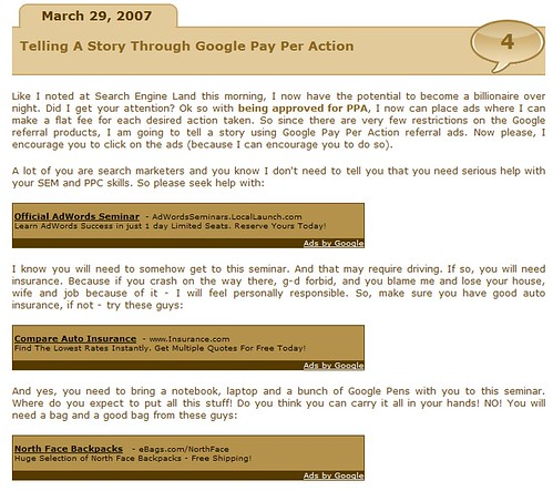 Cartoon Barry: Telling a Story through Google Pay Per Action Ads