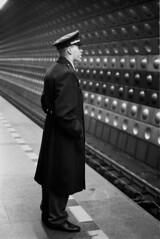 (Nocturnales) Tags: street bw film subway uniform republic czech prague noiretblanc streetphotography praha rue blancinegre notstreetstreet artlibre mikaelmarguerie