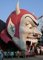 Dante's Inferno side view, Miracle Strip Amusement Park, Panama City Beach Florida (stevesobczuk) Tags: seaside florida dante devil amusementpark diablo panamacitybeach miraclestrip scrambler redneckriviera us98 frontbeachrd