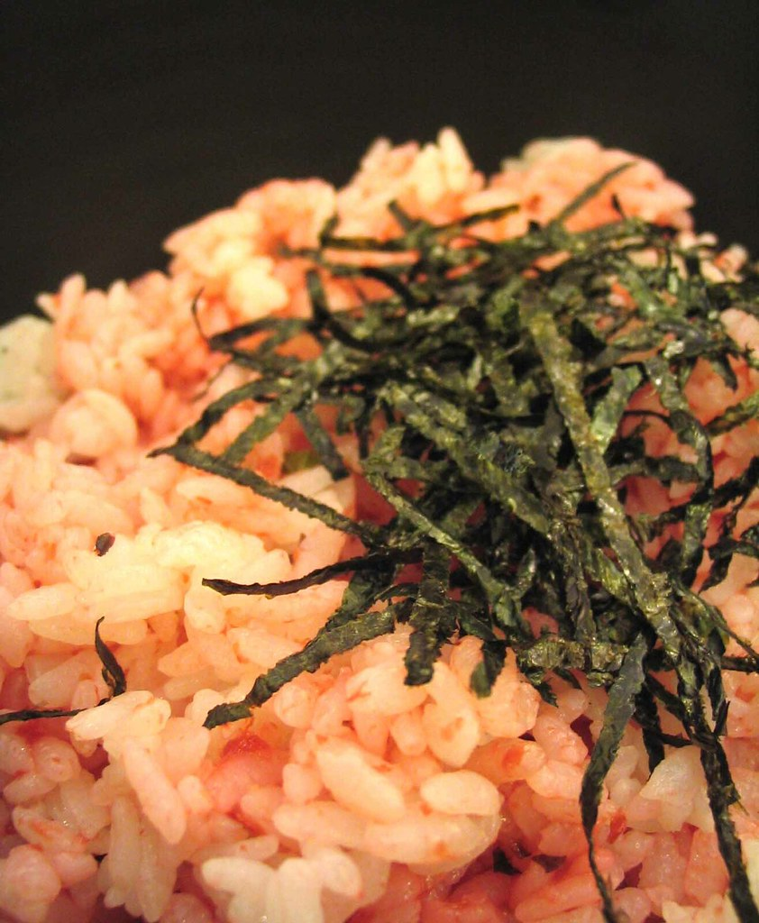 Preserved plum rice with dried seaweed strips