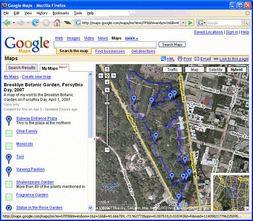 Screenshot of my Google Map of my visit to BBG on Forsythia Day