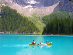 Moraine Lake, Banff National Park (Hornplayer) Tags: blue lake canada bluewater canoe alberta soe banffnationalpark morainelake canadianrockies naturesfinest supershot spectacularlandscapes flickrsbest specland azurewater shieldofexcellence superbmasterpiece beyondexcellence flickrdiamond nationalparksofcanada myspecialplaceaward amazingalberta