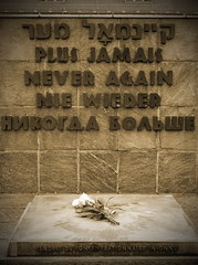 Never Again (shutterBRI) Tags: travel history sepia canon germany munich deutschland bavaria photography holocaust photo memorial war nazi wwii 2006 powershot prison ww2 historical jews remembrance d