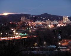 moon peeks over asheville - by zen