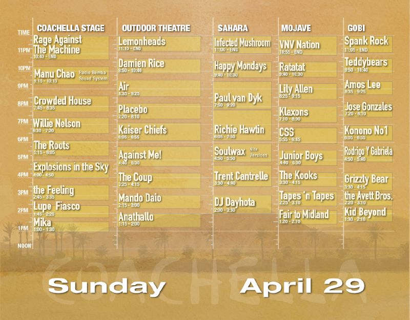Coachella 2007 Set Times - Sunday 4/29