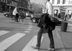 Business man crossing