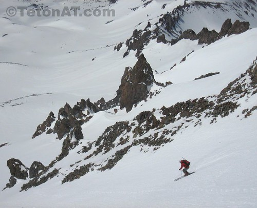 Reed Finlay skis the lower half of the Trinity Chutes on Mt Shasta