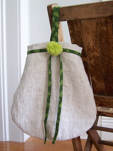 round bottom linen bag