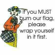 Maxine Burning Flag