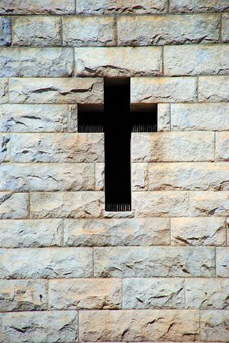 Negative Space Cross -- cross negative sanfrancisco san francisco window stone crucifix church space