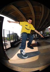 Little_Nick (quantum bunny) Tags: manchester nikon contest bank 360 fisheye skatepark flip skate skateboard 36 tre comp asbo fakie d40 treflip projekts