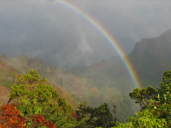 Rainbow over Na Pali Coast - by sarahkim