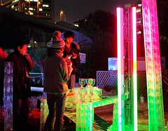Artistic (JanneM) Tags: city blue light red color green art japan night colorful jan exhibition plastic installation   keitai osaka transparent kansai nakanoshima  refractive morn moren janmoren janmorn