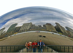 Under a City (shutterBRI) Tags: park city travel people distortion chicago reflection tag3 taggedout canon photography photo illinois shiny downtown tag2 tag1 michiganave bean powershot millenniumpark curved cloudgate anishkapoor 2007 a630 shutterbri challengeyouwinner anawesomeshot brianutesch flickrchallengegroup flickrchallengewinner photofaceoffwinner photofaceoffsilver pfogold pfosilver brianuteschphotography