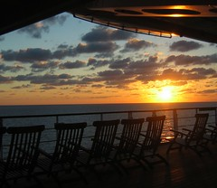Somewhere, Beyond the Sea (Sandra Leidholdt) Tags: cruise sunset ship cruising explore deck queenmary qm2 queenmary2 cunard deckchairs cruiseships wooddeck explored sandraleidholdt leidholdt sandyleidholdt