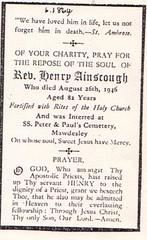 Fr. Henry Ainscough deathcard 1864-1946