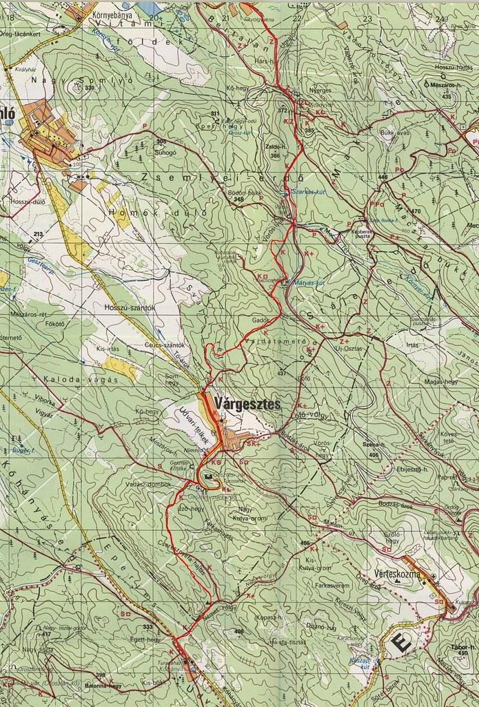Kőhányáspuszta - Várgesztes - Vitányvár - Síkvölgy térkép