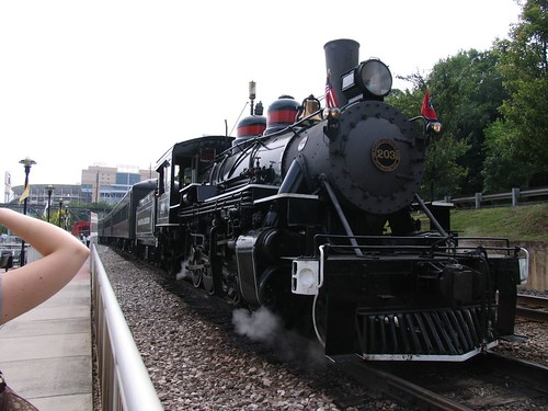 The Three Rivers Rambler pictured still operates with a steam locomotive pulling the train on a 90 minute excursion.