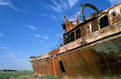 The Shipwreck of the Aral Sea (Marc Morte) Tags: sea ecology asia ship communism cotton soviet centralasia kazakhstan aral irrigation ussr urss ghostship ecologicaldisaster aralsk syrdarya amudarya colorphotoaward drysea