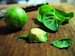 Prepping Brussels Sprouts
