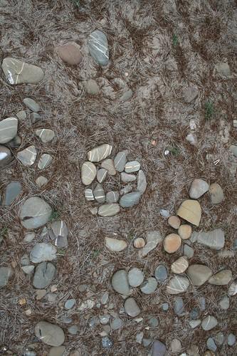 stones on the 'island'