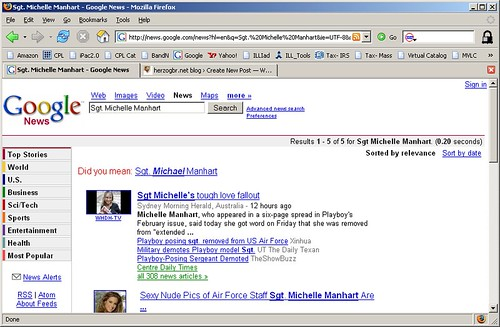 Google News screen capture, 2/15/07