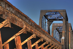 HDR Railroad Bridge, Tempe, Arizona (Thad Roan - Bridgepix) Tags: wood railroad trestle bridge blue arizona sky phoenix metal photo rust steel bridges rusty rail railway historic railfan hdr lattice tempe bridging truss railfanning bridgepixing bridgepix 200702